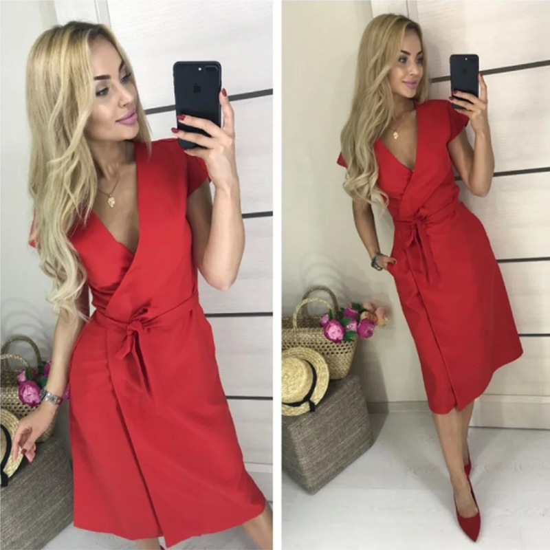 Women Vintage Sashes Strap A-line Party Dress Short Sleeve Sexy V NecK Solid Elegant Casual Dress 2020 Summer New Fashion Dress