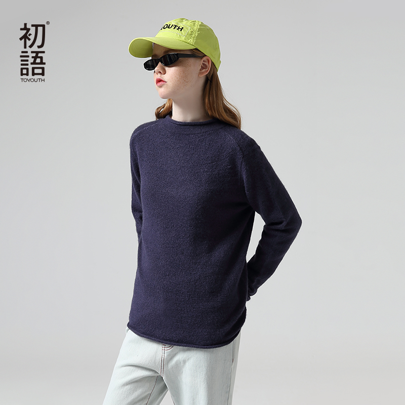 Toyouth Women Autumn Basic Solid Long Sleeve Sweaters Round Neck Gray Pullover Sweater