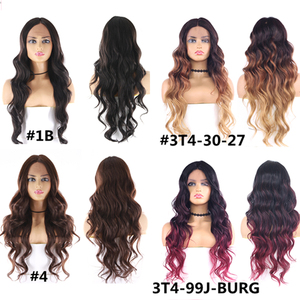 Image 5 - Medium Brown Synthetic Hair Lace Wigs For Women X TRESS 24inch Long Wavy Lace Front Wig Middle Part  Heat Resistant Fiber Hair
