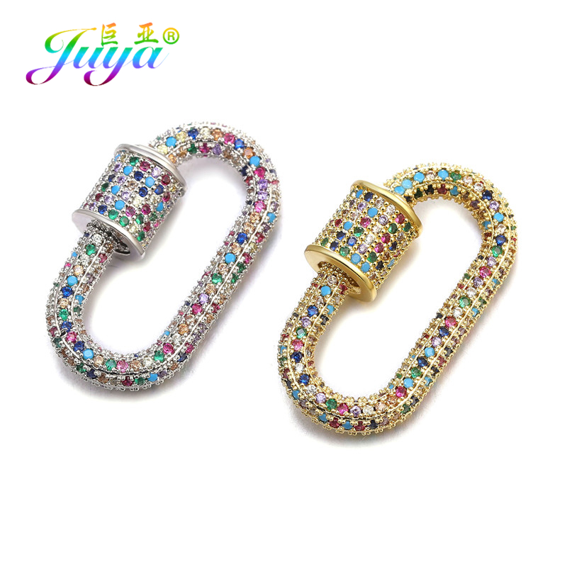 Juya 2020 New DIY Jewelry Making Supplies Luxury Cubic Zirconia Spiral Screw Clasps Pendants Accessories For Fine Jewelry Making