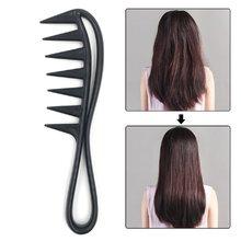 1 pçs dente largo tubarão pente de plástico detangler encaracolado cabelo salão cabeleireiro pente massagem para o estilo do cabelo ferramenta para cabelo ondulado