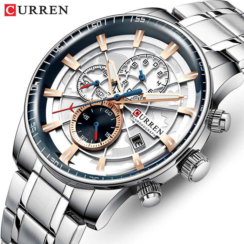 Curren Brand Mens Watches Luxury Stainless Steel Quartz Men Watch Sports Chronograph Wristwatch Big Dial Clock Relogio Masculino