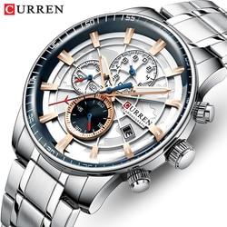 Marka curren męskie zegarki luksusowe ze stali nierdzewnej zegarek kwarcowy mężczyźni sport zegarek na rękę zegarek z dużą tarczą Relogio Masculino w Zegarki kwarcowe od Zegarki na