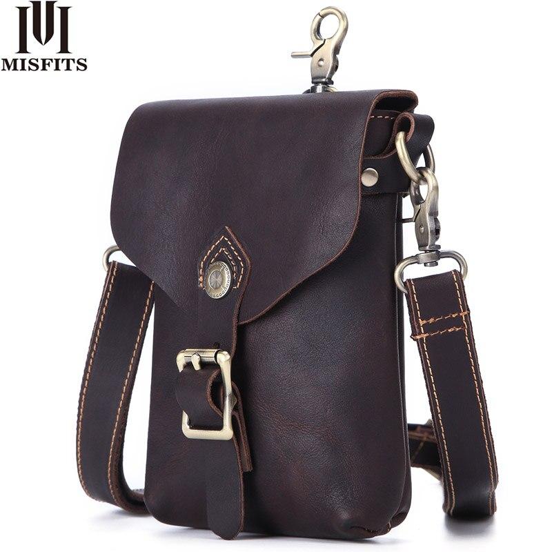Сумка-мессенджер MISFITS crazy horse из натуральной кожи, винтажная дорожная сумка для сотового телефона, поясная сумка, Мужская маленькая сумка чер...