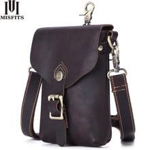 Misfit sac à bandoulière en cuir véritable pour hommes, sacoche vintage de voyage, sac de taille pour téléphone portable, sac à épaule
