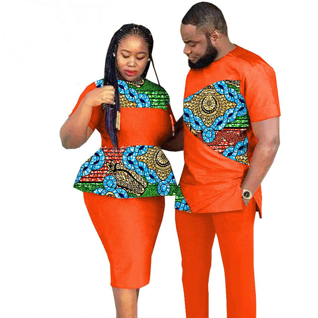 African Couples Clothing Outfits Men and Women Wear Wedding Party Ankara Wax Print Suit African Clothes