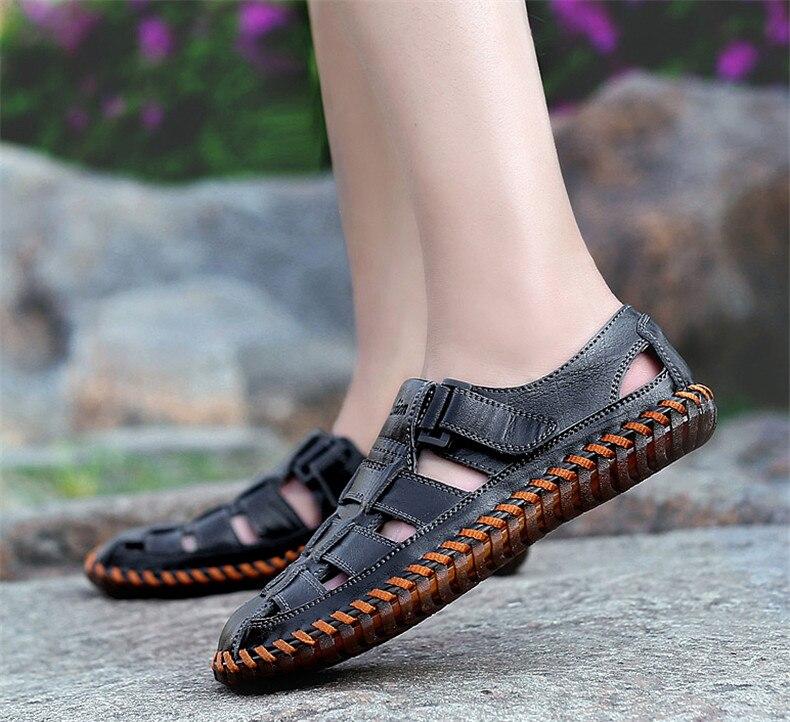 Mytft sandálias masculinas de couro de vaca,