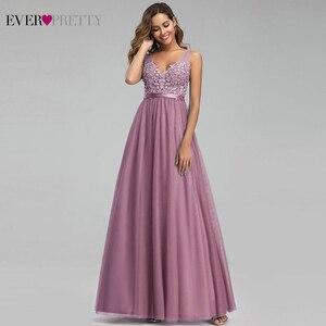 Image 2 - Sempre bonito tule vestidos de dama de honra das mulheres com decote em v apliques elegantes vestidos longos para festa de casamento ep00930 vestidos de madrinha