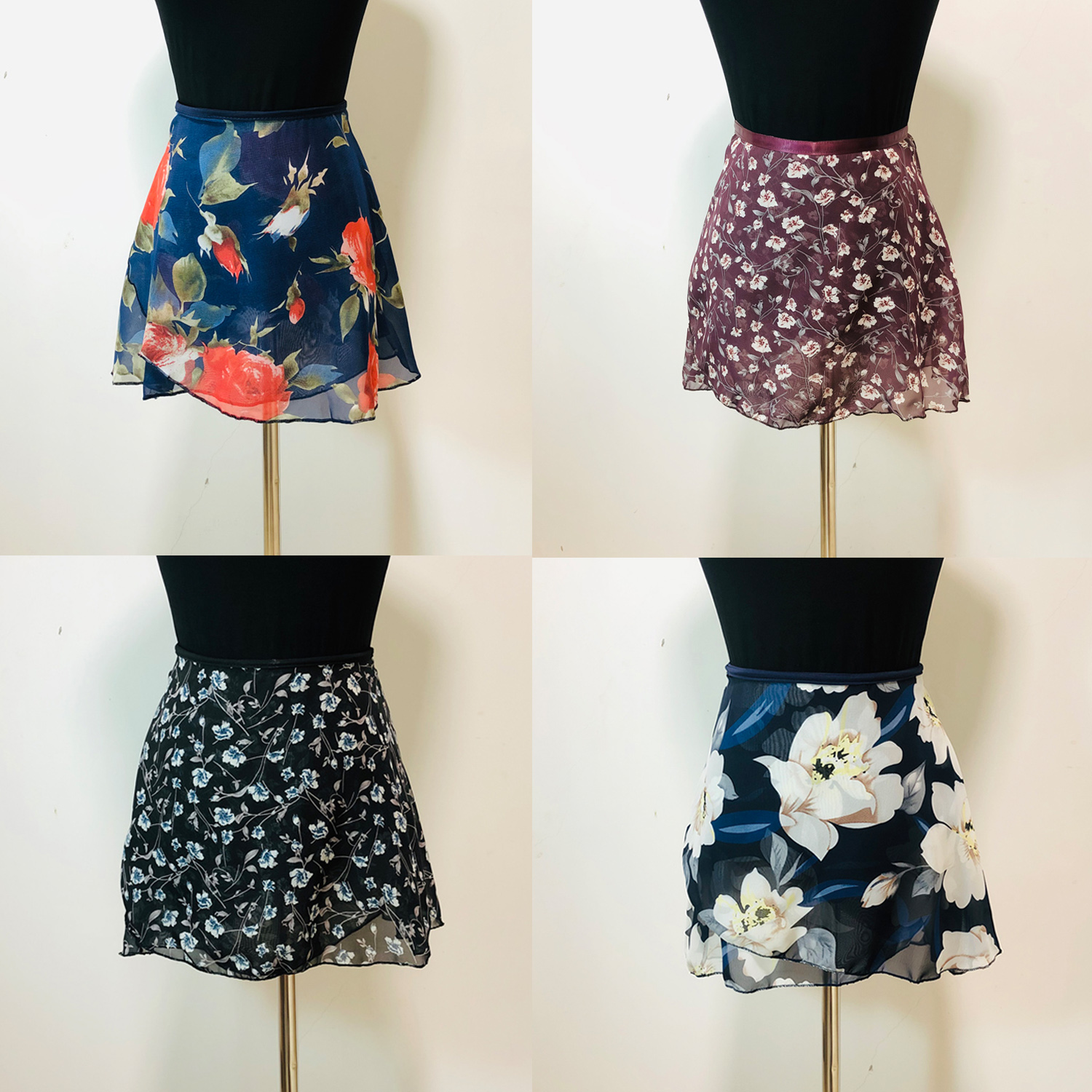 Ballet Tutu Skirt 2020 New Arrival Women Chiffon Flower Practice Ballet Skirt Girls Floral Print Dance Leotard Small Apron