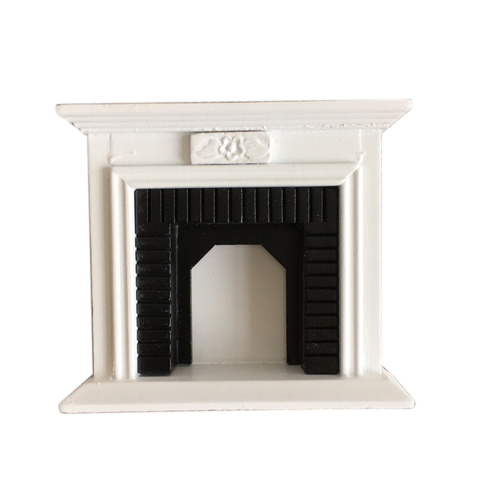 Children's Toys 1:12 Kids Toys Dollhouse Miniature Furniture Room Wooden Vintage Black White Fireplace Doll House Accessories