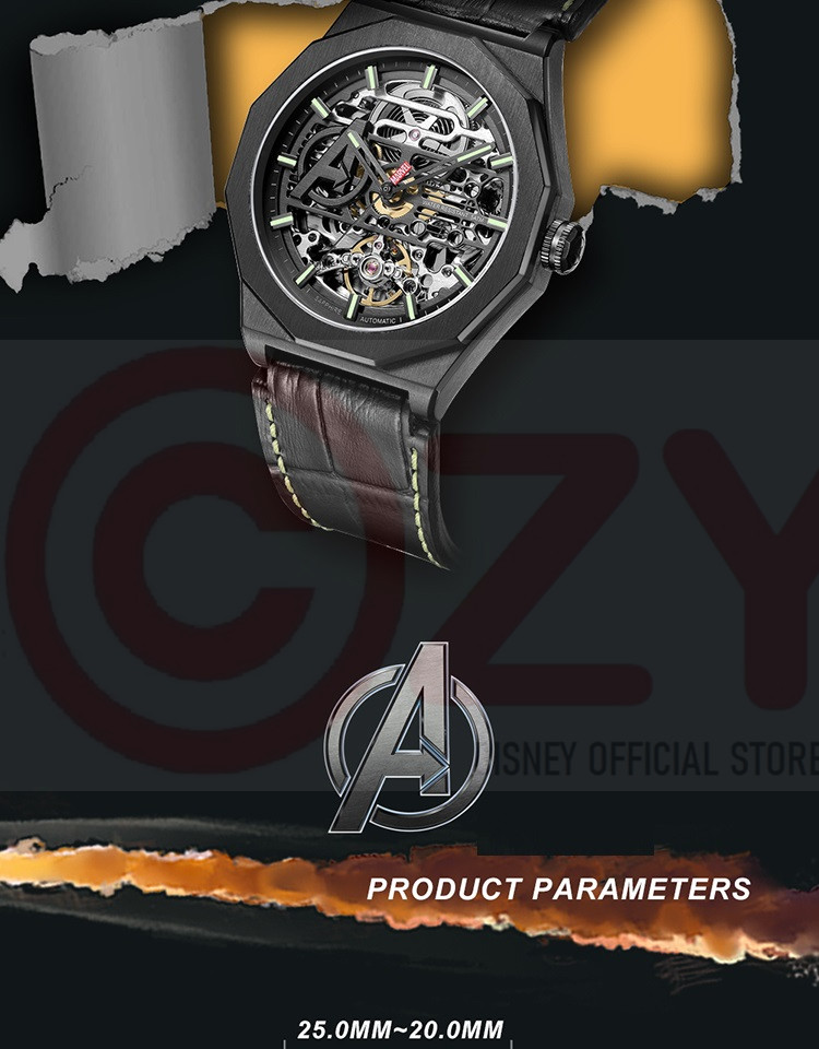 Marvel oficial masculino casual esqueleto automático relógio