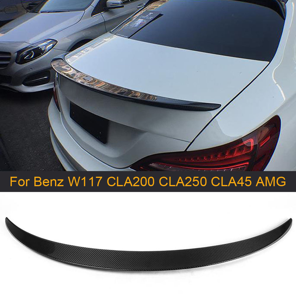 Carbon Fiber Rear Trunk <font><b>Spoiler</b></font> Wing for Mercedes Benz W117 C117 <font><b>CLA250</b></font> CLA200 CLA260 Sedan CLA45 AMG 13-17 Rear <font><b>Spoiler</b></font> FRP image