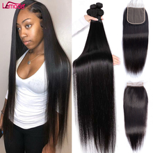 Straight Bundles With Closure Peruvian Human Hair Bundles With Frontal And 1 3 4 Bundles Weave 30 Inch Remy Human Hair Extension