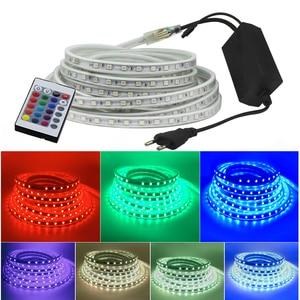 Image 2 - RGB LED şerit ışık kiti uzaktan kumanda ile kısılabilir yumuşak ışık LED bant su geçirmez AC220V SMD 5050 LED şerit esnek şerit