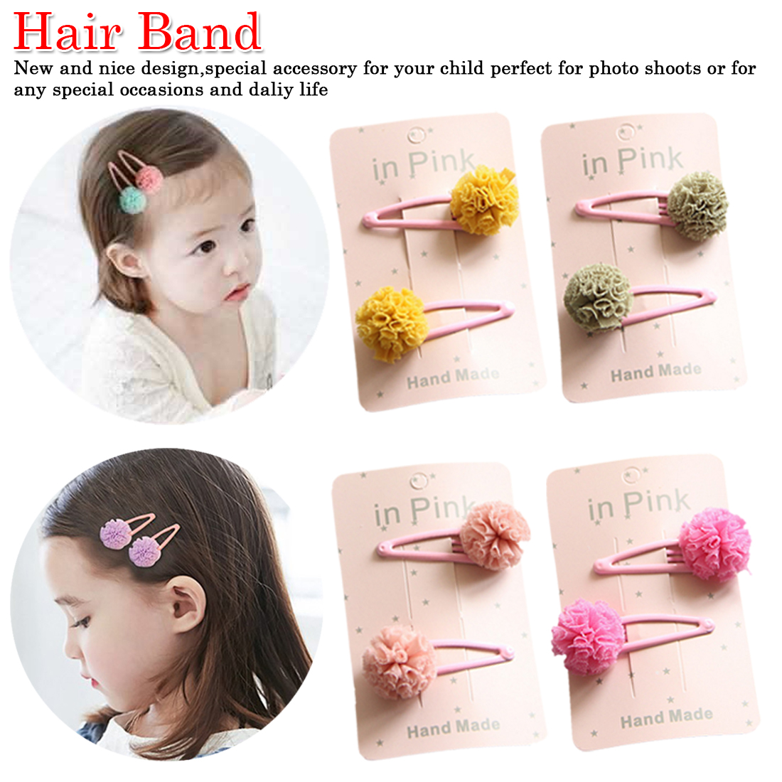 2Pc/Set Cute Lace Pom Pom Baby Hair Clips Cute Kids Baby Girl Hairpin Haarspeldjes Barettes Fille Enfant Baby Hair Accessories