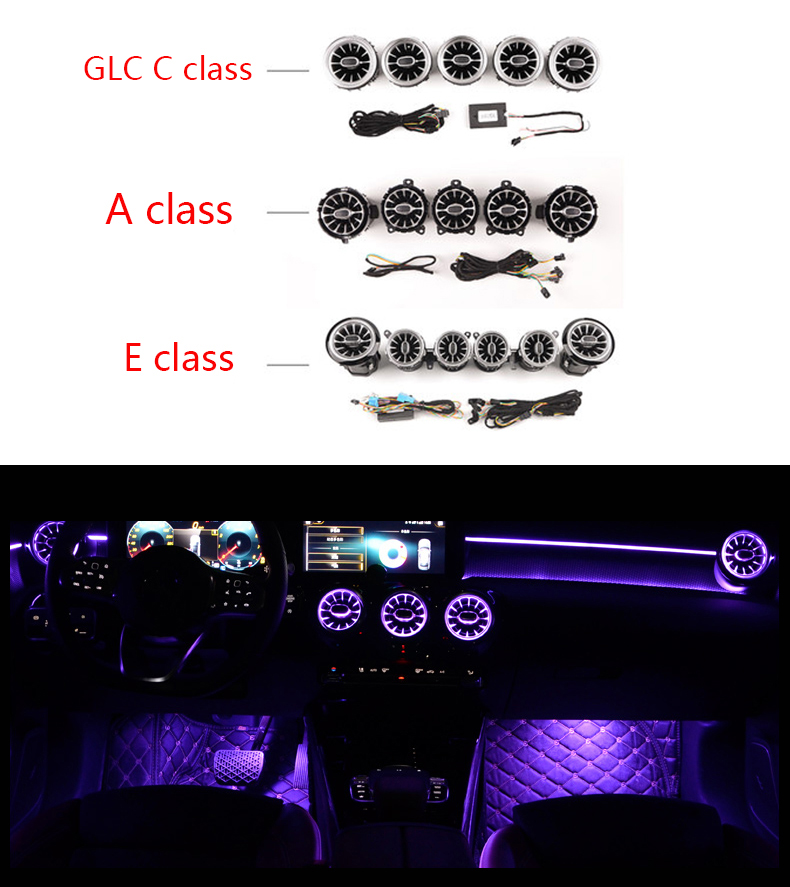 LED Turbine Air Vent Car Air Condition Vent Decoration Ambient Light Lamp For Benz A /C /E/ GLC/ CLA Class W205 W213 X253 W117