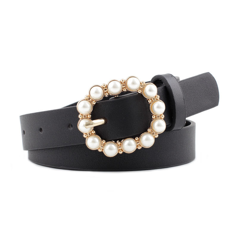 Leather Belt Women's Fashion Solid Color Belt Pearl Square Buckle Inlaid Pearl Decoration Sweet Style Belt Women