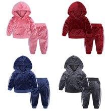 Комплект одежды для маленьких детей; теплый флисовый свитер с капюшоном для мальчиков и девочек; комплект одежды с длинными штанами; модный костюм; сезон осень-зима; M850