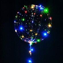 18/24inch Handle Led Balloon Luminous Transparent Helium Bobo Ballons Wedding Birthday Party Decorations Kids LED Light