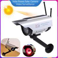 Solar Power Fake Dummy Simulation Camera with Flashing LED Light Home Outdoor Security kamera CCTV Video Surveillance Supplies
