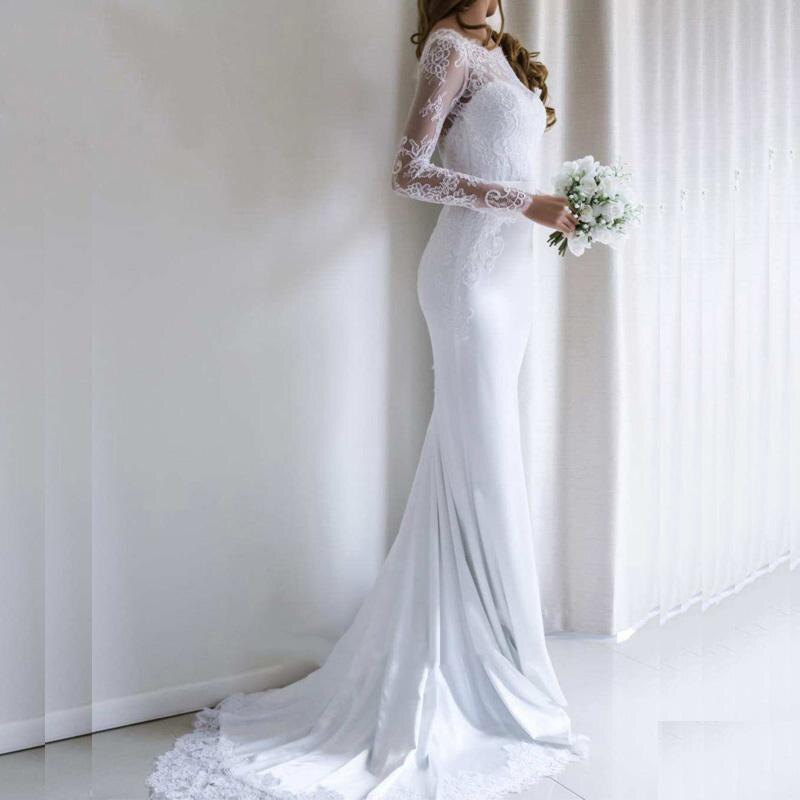 Booma Elegant Lace Wedding Dress Mermaid 2019 Long Sleeve Bridal Gown Open Back Vestidos De Novia Lace Sweep Train Custom Size