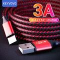 3A QC3.0 быстрой зарядки USB Type C кабель для Samsung Xiaomi Huawei P40 мобильный телефон Type-c USB AFC зарядный Дата-кабель зарядного устройства
