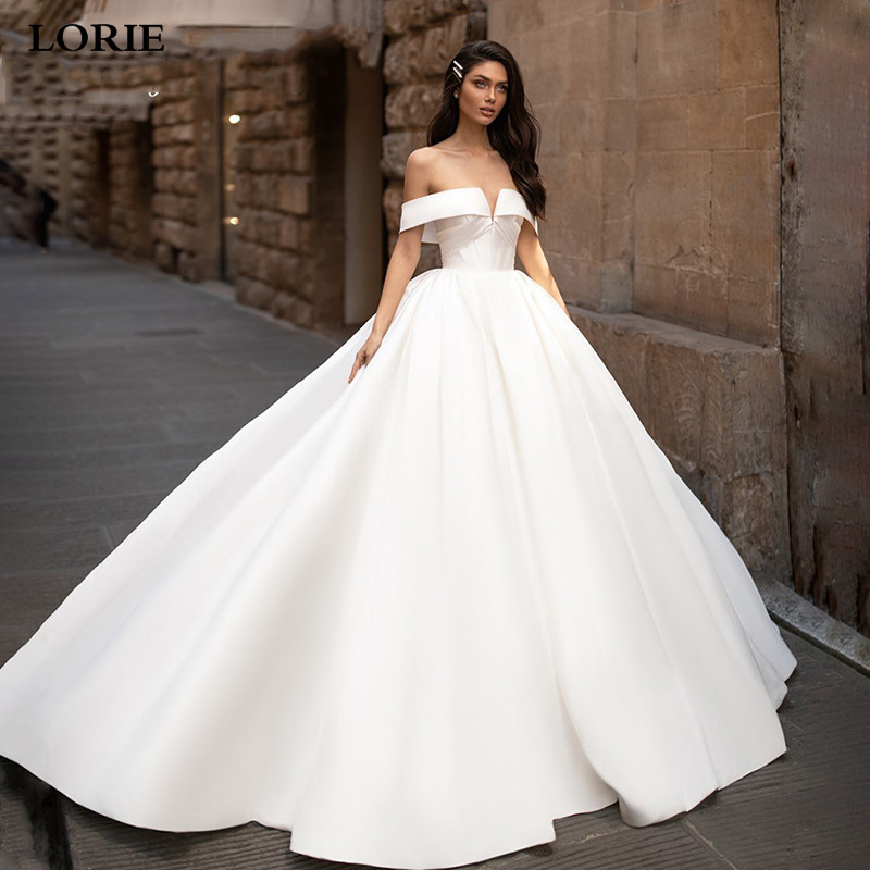LORIE Princess Wedding Dresses Satin Elegant Off The Shoulder Wedding Bride Dresses With Buttons White Ivory Wedding Ball Gown