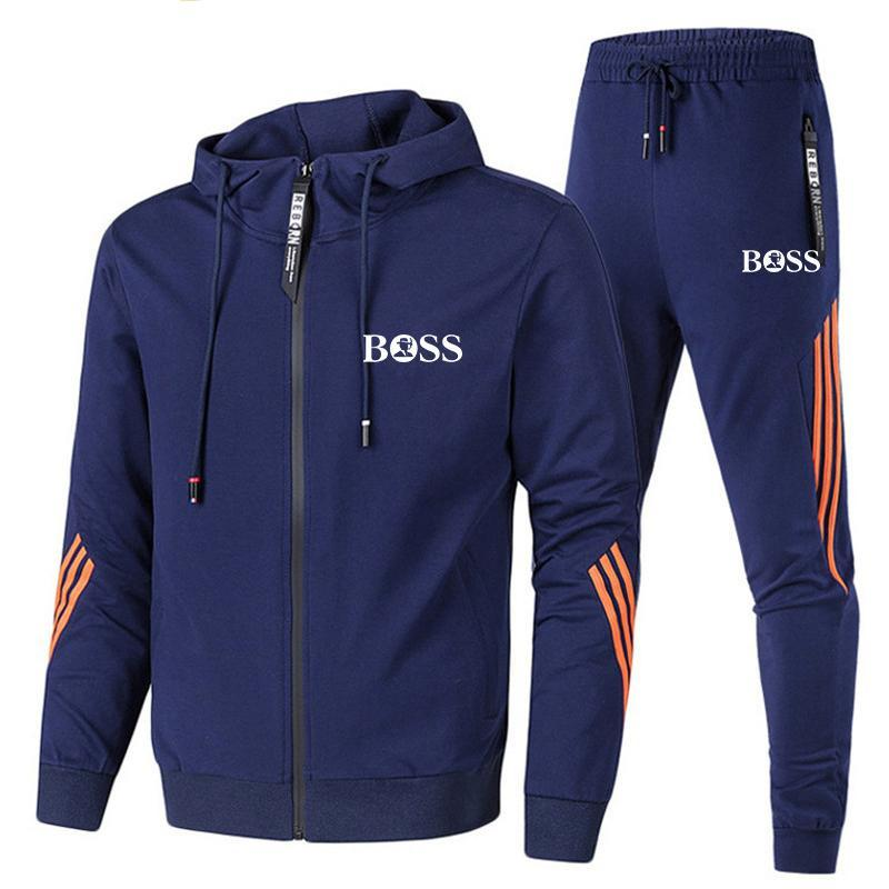 Two Pieces Casual Tracksuit Male Sportswear