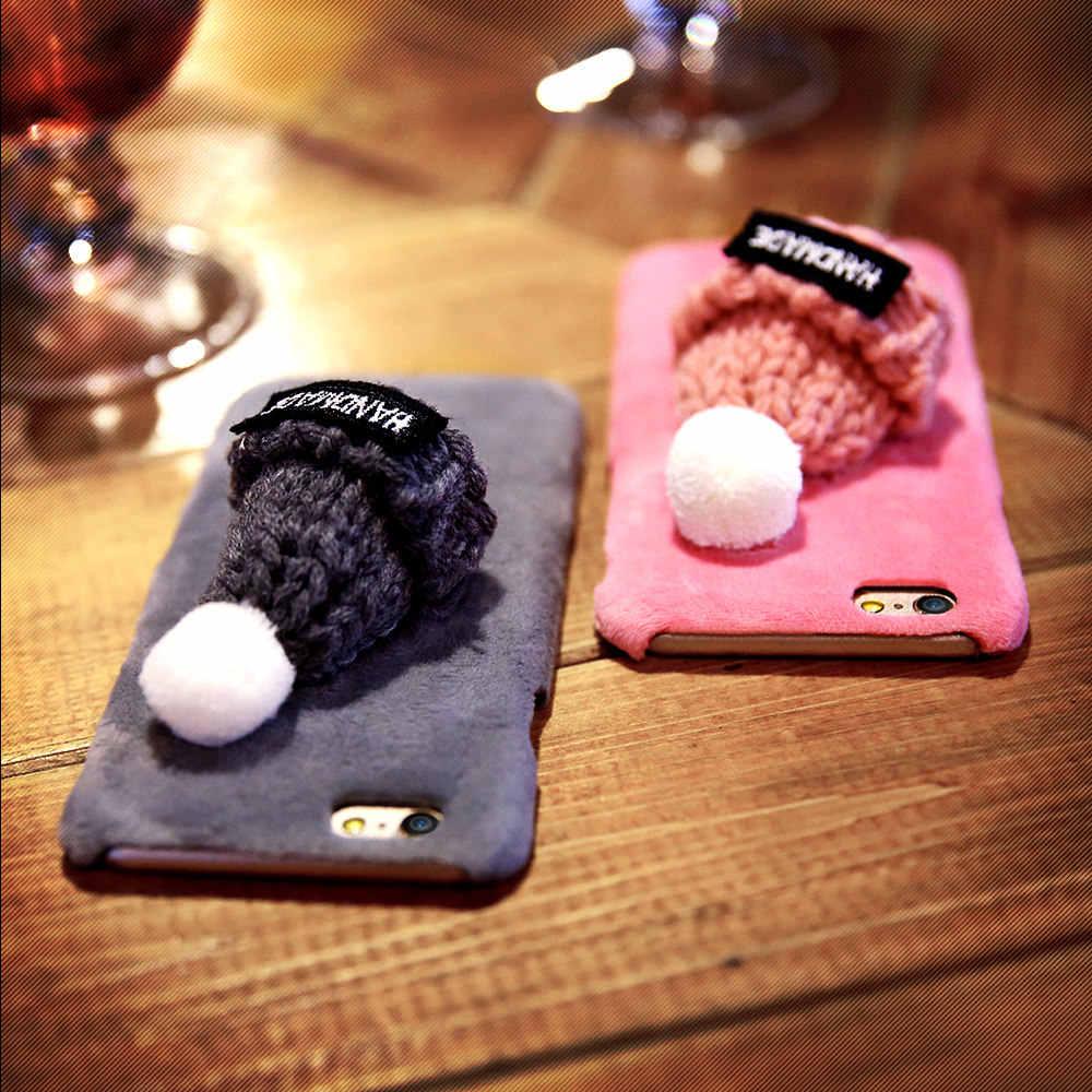 KISSCASE için Güzel Sıcak Kürk Telefon iphone için kılıf 7 XR X XS MAX 8 6 6S Artı Noel Peluş Şapka Kabarık iphone için kılıf 5 5S SE Çapa