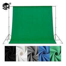 Fondo de fotografía de pantalla verde/blanco/Negro/azul/gris muselina poliéster algodón fondo profesional para estudio fotográfico
