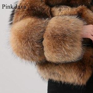 Image 4 - Розовый JAVA QC1884 Новое поступление пальто из натурального меха енота, женская меховая куртка зима роскошные пушистые енота пальто Лидер продаж