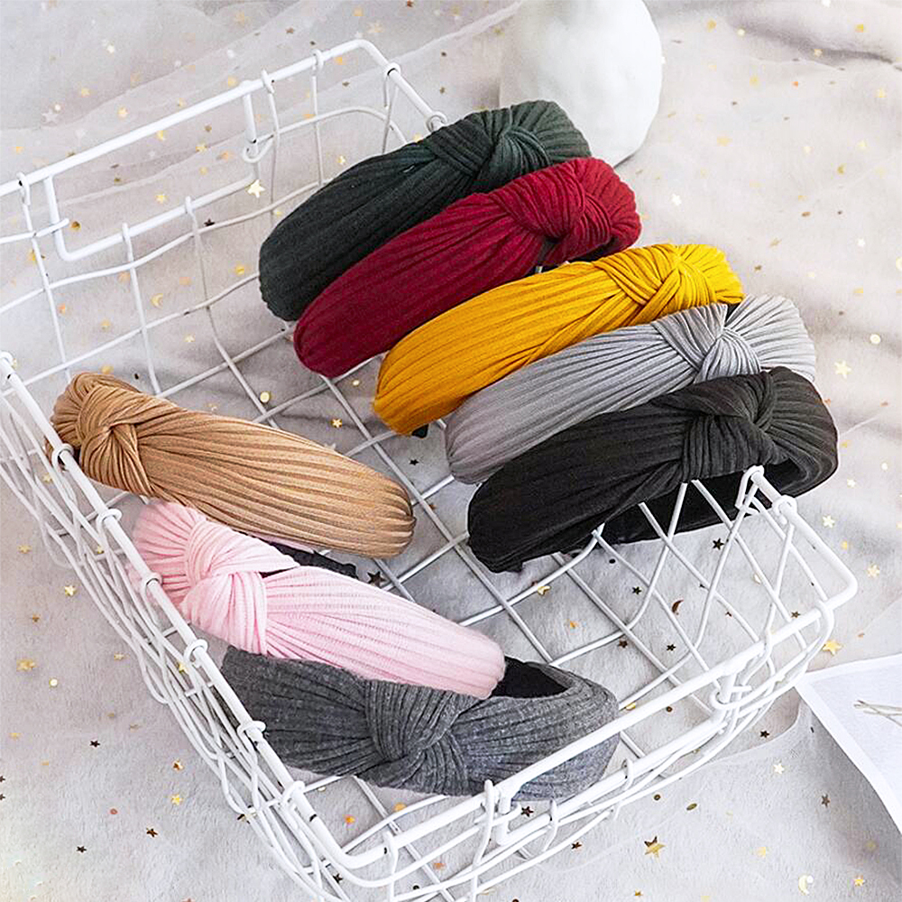 Fashion Fabric Knotted Headband Solid Soft HairBand Simple Pure Color Vintage Hair Hoop For Women Girls Hair Accessories FG-CG76
