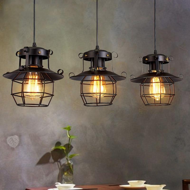 American Loft Metal Pendant Lights Fixture Luminaire Vintage Edison Hanging Lamp Bar Cafe Restaurant Decoration Led Industry E27