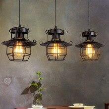 Lámparas colgantes de Metal para desván americano Luminaire Vintage Edison lámpara colgante Bar cafetería restaurante Decoración Led industria E27