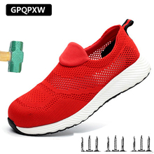 Summer Breathable Labor Insurance Shoes Lightweight Steel Toe Cap Safety Shoes Anti-smashing Anti Puncture Work Boots Insulation