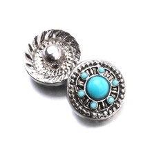 10 unids/lote gran oferta accesorio intercambiable azul Botón Ajuste 12mm botón broches joyería de la pulsera de ZL045