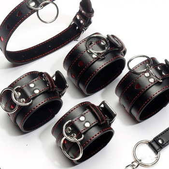 Leather Metail Heart Sex Handcuffs Ankle Cuffs and Collar Slave Bdsm Bondage Set Sex Toys for Couples Erotic Womens Lingerie sex toys for woman leather handcuffs ankle cuffs bdsm collar bondage restraints womens lingerie hand cuffs cockring handboeien