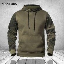 Contrast Hoodies Men Fashion Long-Sleeve Pullover Fleece Hoodie with Kanga Pocket Sweatshirt Male Military Patchwork Outwear 4XL