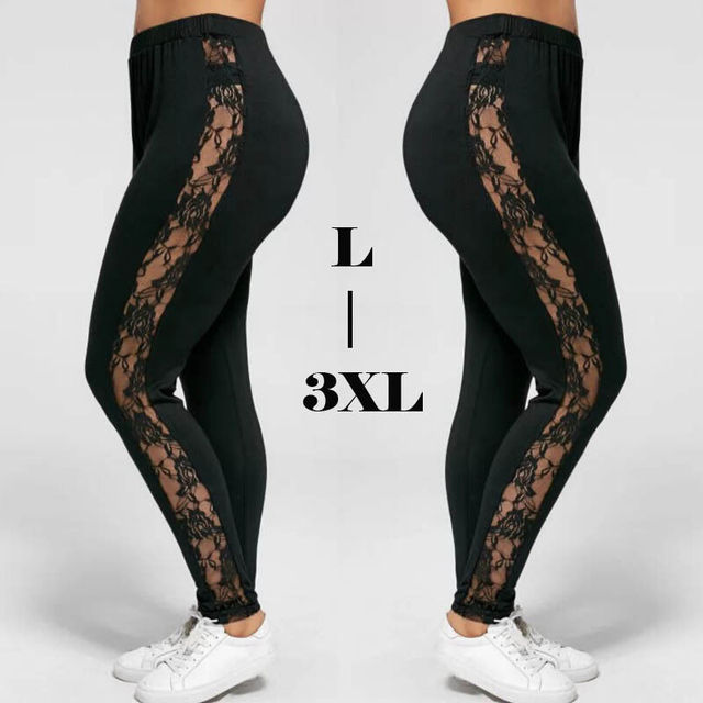 Plus Size L-3XL Sexy Women Lace Pants Black Insert Sheer Leggings Elastane Leggings 4