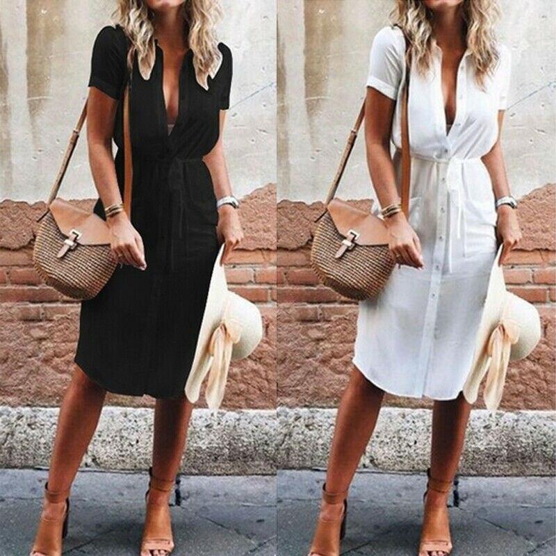 Women Dress Summer Clothes Women Sundress V Neck Party Dresses Women Evening Clubwear Button Shirt Dress Casual Dresses