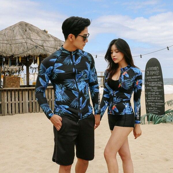 2019 coréen Rashgardy Plavky garde vêtements pour les femmes vêtements de Surf fendu Couple serré à manches longues Surf maillot de bain