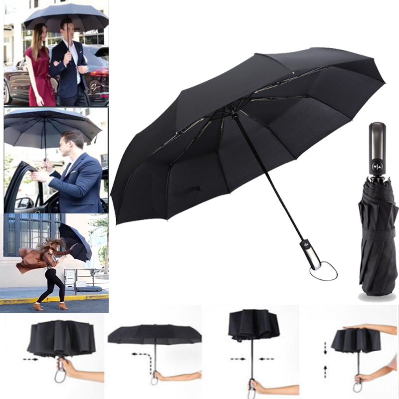 10Ribs Fully-automatic Male Commercial Compact Large Durable Frame Windproof Gentle Black Three Folding Umbrellas Rain Gear
