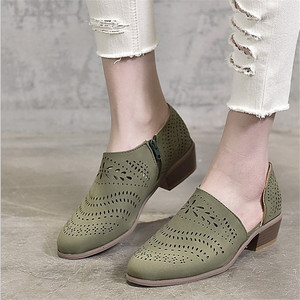 Image 2 - Fretwork sapatos femininos primavera outono baixo chunky salto apontado lado zip bombas de tornozelo curto sandálias oco para fora sapatos retro