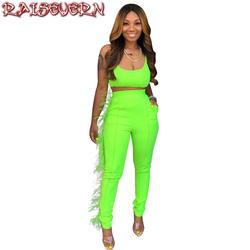 Женский комплект из двух предметов, неоновый, зеленый, с перьями, на бретельках, с открытой спиной, укороченный топ и штаны бодикон