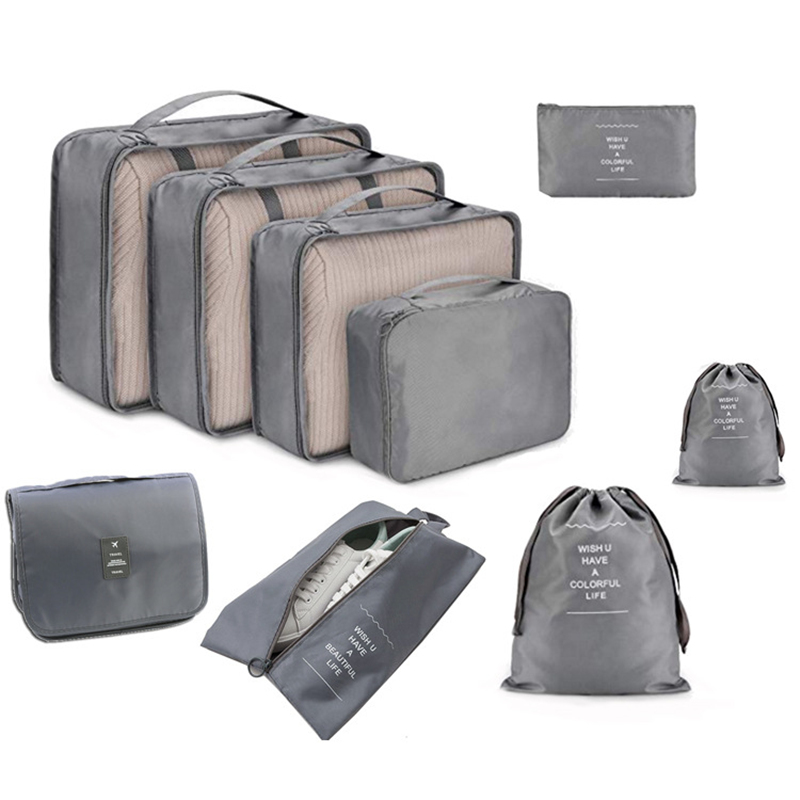 High Quality 9Pcs/set Suitcase Organize Storage Bag Portable Cosmetic Bag Clothes Underwear Shoes Packing Set Travel Makeup Bag