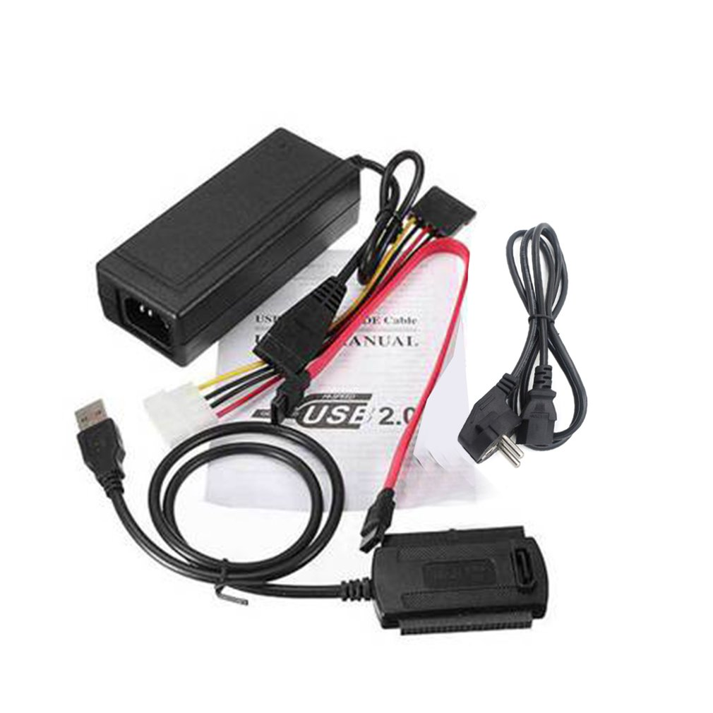 """SATA/PATA/IDE Drive to USB 2.0 Adapter Converter Cable for Hard Drive Disk HDD 2.5"""" 3.5"""" With External AC Power Adapter"""