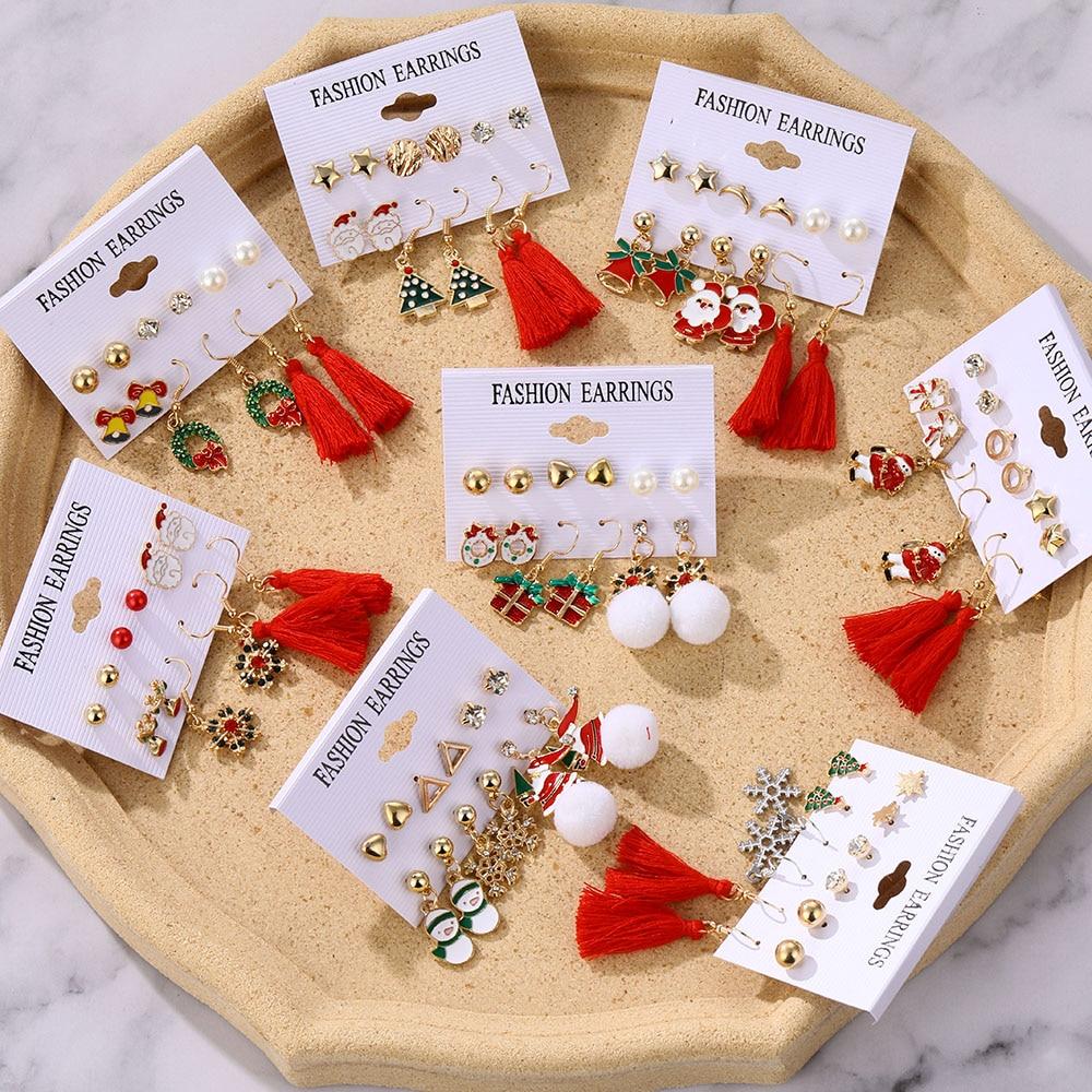Winter Pearl Tassel Christmas Earring Set Fashion Snowflake Tree Geometric Alloy Earrings Female Child Christmas Jewelry серьги