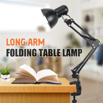 Lámparas de bombilla Led E27/E26 lámpara de mesa Flexible brazo oscilante abrazadera montaje lámpara Oficina estudio hogar mesa escritorio luz UE/EE. UU. Enchufe AC85-265V