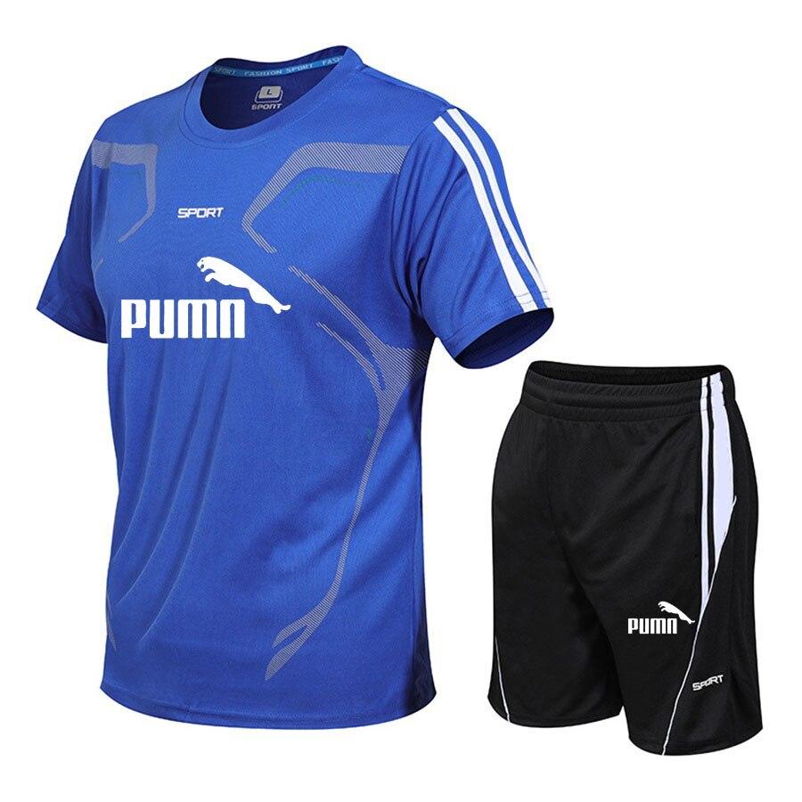 Brand men's sportswear suit short-sleeved sports shirt male running 2 piece suit football gym fitness man T-shirt + shorts set 4