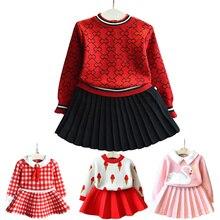 Одежда для маленьких девочек комплект со свитером для маленьких девочек, детский вязаный костюм в клетку, свитер теплый свитер для девочек, юбка комплект из двух предметов
